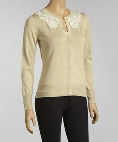 Take a look at this Beige Crocheted Collar Cardigan by YAL on #zulily today!