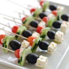 Greek Salad Skewers. Love this Appetizer Idea ❤️ . Photo Credit: nobiggie.net