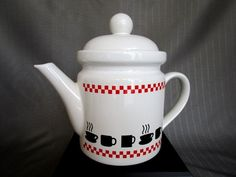 Vintage Retro Coffee Tea Pot White Ceramic Red Checked Black Silhouettes Steaming Coffee Cups Retro Kitchen Decor Retro Glamping Carafe by RoomInteriors on Etsy