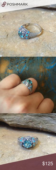 Blue topaz and opal sterling silver boho ring Gorgeous amazing detailed vintage Victoria setting with blue topaz center stone and beautiful tiny blue opal accent stones. Jewelry Rings