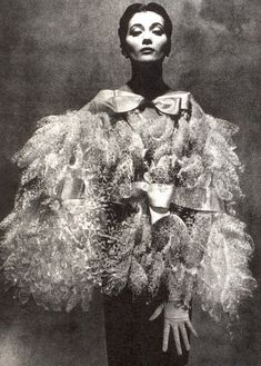 Balenciaga  Model is wearing a Creation Haute Couture of Balenciaga,in 1955.