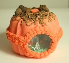 A frosted wonderland is nestled within the glistening pumpkin shell. Each is handmade by artisans in the Ozark Mountains who are skilled in the ages-old craft. Halloween Goodies, Halloween Season, Holidays Halloween, Halloween Treats, Halloween Diy, Happy Halloween, Halloween Decorations, Samhain Halloween, Halloween 2017