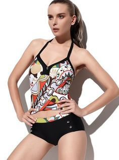 2XPC Personalized Patterning Black and White Printing   Split Swimwear Swimsuit @Merpher. L