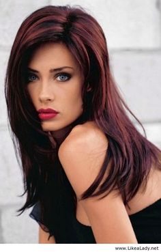 Brunette with red highlights color