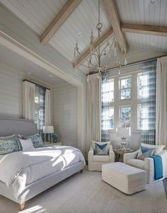 Another gorgeous Florida coastal bedroom. Love the soothing palette and the touches of color in the shears Florida Beach House with New Coastal Design Ideas Coastal Master Bedroom, Beach House Bedroom, Coastal Bedrooms, Farmhouse Master Bedroom, Coastal Living Rooms, Beach House Decor, Home Bedroom, Bedroom Decor, Bedroom Ideas