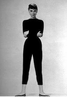 1960s beatnick fashion | Audrey Hepburn looking very Beatnik in all black.