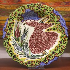 TURKISH CERAMIC DERVISH PLATE, DECORATIVE PLATE