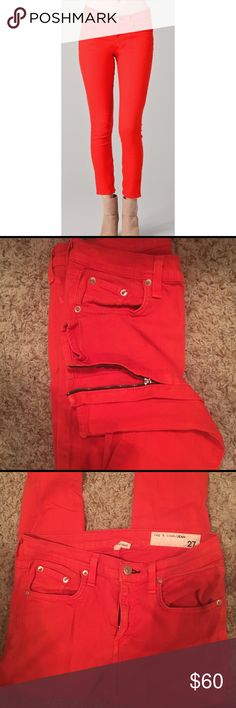 """Rag & Bone/JEAN """"zipper capri"""" jean Absolutely, hands down, my favorite style from Rag & Bone/JEAN. Flatters the back side, amazing pigment, a tiny bit of stretch and zippers on the ankle. These will be your new favorite pair of jeans! --Ankle-length Rag & Bone skinny jeans with a flattering high rise. Hazy whiskering adds vintage appeal, and exposed interior ankle zips lend a touch of moto style. 5-pocket styling. Button closure and zip fly. rag & bone Jeans"""