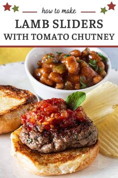 If you're looking for small bite burger recipes, take a look at these Lamb Sliders with Tomato Chutney. Ground Lamb burgers seasoned with mint and rosemary and topped with a sweet tomato ginger chutney...shame on you if you don't give these a try. #lambrecipes #groundlamb #lambburgers Lamb Recipes, Burger Recipes, Smoked Trout Pate, Lamb Sliders, Sweet Corn Soup, Ginger Chutney, Lamb Burgers, Tomato Chutney, Ground Lamb