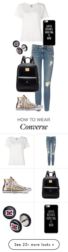 """Casual day"" by bella-whaley on Polyvore featuring Frame Denim, Visvim, Converse and WWE"