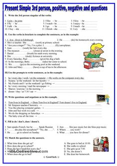 Present simple- person,positive, negative,questions - English ESL Worksheets for distance learning and physical classrooms Comprehension Exercises, Reading Comprehension, English Grammar Worksheets, English Vocabulary, English Lessons, Learn English, Grammar Exercises, English Activities, Writing Skills
