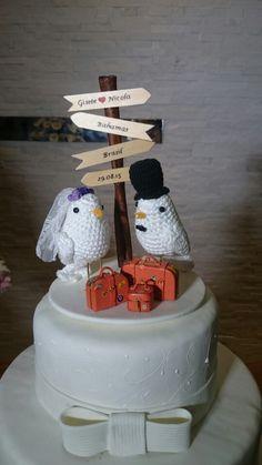 Topo de bolo de uma grande amiga. Wedding cake topper. Birds.