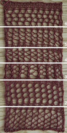 lo spazio di lilla: Punti traforati ai ferri: 6 varianti con spiegazioni / 6 different knitting mesh stitches with patterns