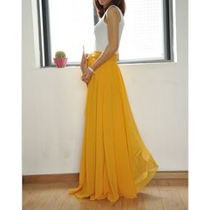 Beautiful Bow Tie Chiffon Maxi Skirt Silk Skirts Yellow Elastic Waist... ($49) ❤ liked on Polyvore featuring skirts, black, women's clothing, long chiffon maxi skirt, long maxi skirts, summer maxi skirts, silk maxi skirt and long chiffon skirt