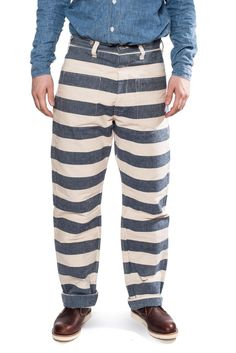 Warehouse Brown-Duck & Digger 1091 Prison Pants (Blue/White) | Son of a Stag