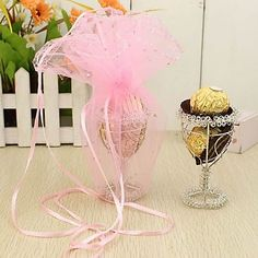 Wine Cup Shaped Favors Boxes With Organza Bags (Set of 12) – USD $ 19.99