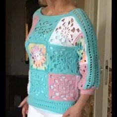 Crochet Crafts, Knit Crochet, Crochet Tops, Sweaters For Women, Men Sweater, Crochet Curtains, Crochet For Beginners, Crochet Clothes, Tunic Tops