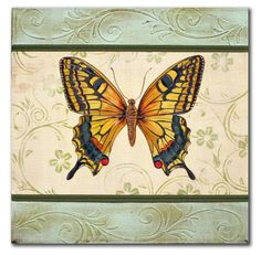 Lovely Butterfly1 Original Embossed Butterfly by  Jean Plout, 16x16x2.5 , $175.00