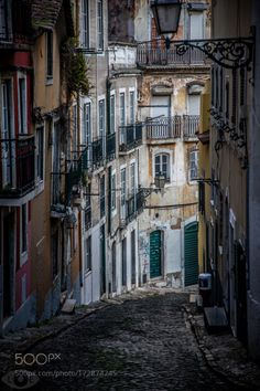 Streetview Lisbon by lloydeye  color urban decay Lisbon coble stone lloydeye