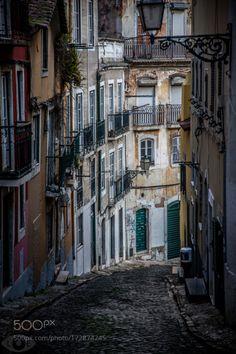 Streetview Lisbon by lloydeye  color urban decay Lisbon coble stone lloydeye