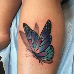 Realistic Butterfly Tattoo, Butterfly Tattoos For Women, Butterfly Tattoo Designs, Butterfly On Flower Tattoo, Infinity Butterfly Tattoo, 3d Flower Tattoos, Butterfly Tattoo Meaning, 3d Tattoos, Mini Tattoos