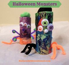 Cardboard tube Halloween monsters allow plenty of room for creativity!