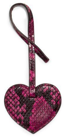 Michael Kors Large Heart Embossed-Leather Keychain