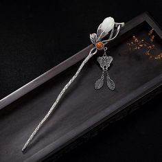 925 Sterling Silver Vintage Magnolia Flower Butterfly Pin Chinese Style Hair Stick - New Ideas Hair Accessories For Women, Jewelry Accessories, Jewelry Design, Silver Necklaces, Silver Jewelry, Silver Ring, Sterling Silver Flowers, Fantasy Jewelry, Hanfu