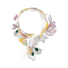Bouquet d'ailes necklace, emerald, colored sapphire, fine stone and diamond necklace by Boucheron