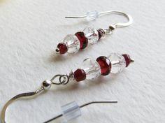 Jewelry Dangle Earrings Garnet Fire Red  & Quartz by Smokeylady54