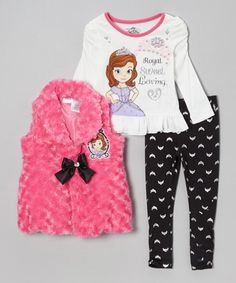 Take a look at this Pink 'Royal Sweet Loving' Pants Set - Toddler & Girls by Disney on #zulily today!