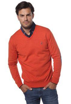 Tienda online | Moda mujer y hombre Jersey en color caldera con cuello de pico y codera contraste de Valecuatro Tienda online | Moda mujer y hombre