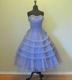 Vtg~1950s~EMMA DOMB DRESS~Lavender~TULLE~Party~PROM~Wedding~STRAPLESS~Tea Length