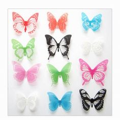 Magnetic 3D Butterfly Wall Art Decal, Removable Wall Stickers Home Decor, Several Color & Combo Choices
