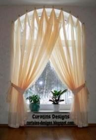 Custom Drapery Panels Curtains Valances and other Things: Window Treatments hanging from what? Knobs, Rods, Hooks, and Whatever Else You Can Think Of Curtains For Arched Windows, Bathroom Window Curtains, Bathroom Windows, Hanging Curtains, Arch Windows, Burlap Curtains, Bay Windows, Bathroom Sinks, Bathroom Ideas