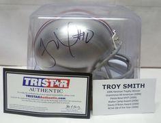 The Ohio State University Auto Troy Smith Tri-Star Mini Helmet - 2006 Heisman