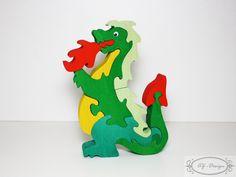 Puzzle en bois, dragon, conte, feu : Jeux, jouets par az-design