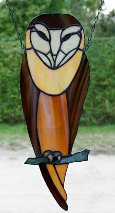 Stained Glass Window Image Art Nouveau Owl in Tiffany Copper and Tin | eBay