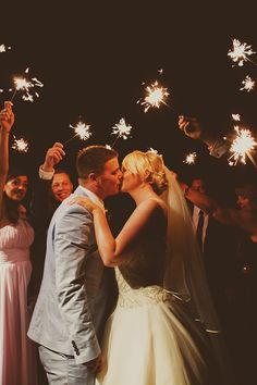 Sparklers kiss - Tara & Jack Wedding - More in the blog! by Ana Gely A. Photography