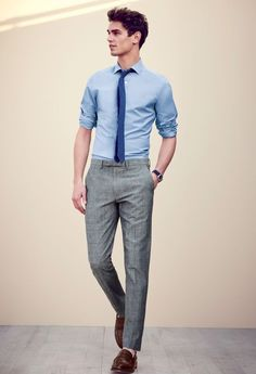 J.Crew men's Ludlow shirt in basketweave cotton, Bowery classic pant in Japanese chambray, and Ludlow penny loafers.
