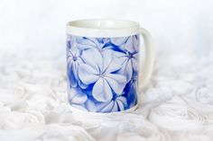 A Whole Latte Love,Blue Flower Coffee Mug,11oz ceramic mug,Blue Flower Inspirational Mug,Hot Cocoa,Tea,Latte,Holiday Gift,Floral Mug