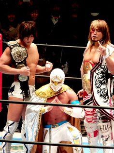 Kota Ibushi, Mistico, and Masked Devilock (Tanahashi).
