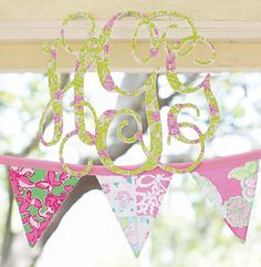 Lilly Pulitzer patterned banner & monogram