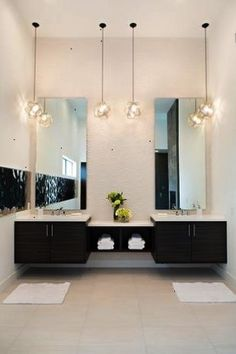 Contemporary Master Bathroom with limestone tile floors Pendant light Master bathroom Double sink Undermount sink Flush
