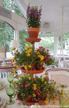 DIY Instructions for a 3 Tiered Terra Cotta Plant Stand Between Naps on the Porch. Lawn And Garden, Garden Pots, Glass Garden, Balcony Garden, Succulents Garden, Tiered Planter, Succulent Centerpieces, Diy Plant Stand, Plant Stands