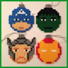 Avengers Christmas Ball Ornaments perler beads by For Nehemiah Perler Bead Designs, Perler Bead Templates, Hama Beads Design, Pearler Bead Patterns, Perler Patterns, Christmas Perler Beads, Beaded Ornaments, Ball Ornaments, Diy Ornaments