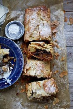 Pear and sour cherry strudel.