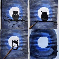 Easy Fall Tree Drawing · Art Projects for Kids Autumn Art, Winter Art, Projects For Kids, Art Projects, Halloween Kunst, Owl Art, Elementary Art, Art Education, Art Lessons
