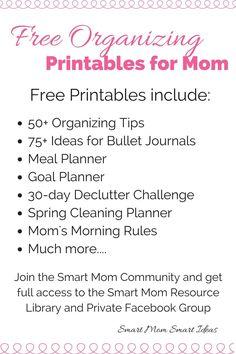 Free organization printable | home organization printable | home cleaning printable | meal planner printable via @smartmomideas