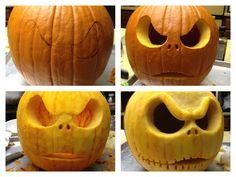 Jack The Pumpkin King! Jack Skellington Pumpkin Carving, Scary Pumpkin Carving, Halloween Pumpkin Carving Stencils, Amazing Pumpkin Carving, Pumpkin Stencil, Pumpkin Art, Halloween Pumpkins, Skull Pumpkin, Pumpkin Ideas